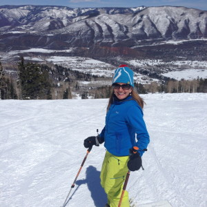 Carolyn skiing